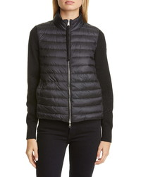 Moncler Quilted Down Wool Short Jacket