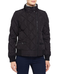 Andrew Marc Quilted Puffer Moto Jacket Wdetachable Sleeves Black