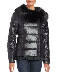 Betsey Johnson Ruffled Faux Fur Moto Puffer Jacket