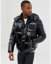 Calvin Klein Shiny Detachable Hood Puffer Jacket In Black