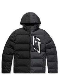 Fendi Slim Fit Logo Appliqud Colour Block Quilted Nylon Blend Hooded Down Jacket