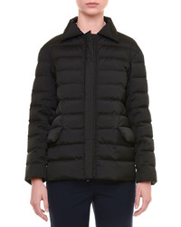 Jil Sander Spread Collar Zip Front Short Puffer Coat Black