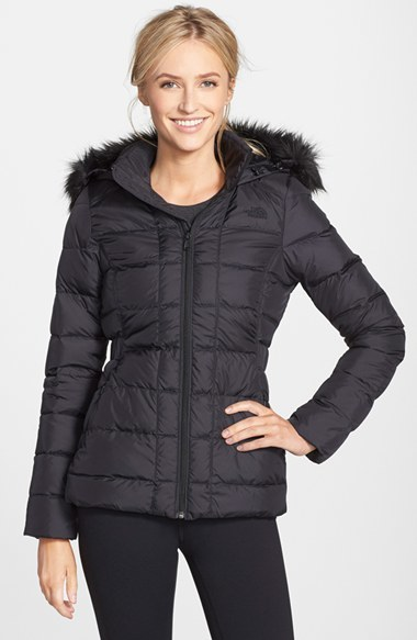 ... official store black puffer jackets the north face womens the north  face gotham faux fur trim 4721103e2