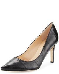 Neiman Marcus Cissy Eel Skin Pointed Pump Black