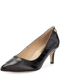Neiman Marcus Stroll Pointed Toe Eelskin Pump Black