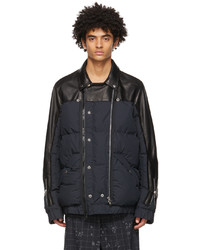 Undercover Black Sacai Edition Leather Double Riders Jacket
