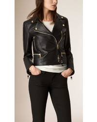 Quilted detail lambskin biker jacket medium 530933