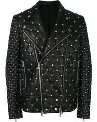Balmain Studded Quilted Biker Jacket