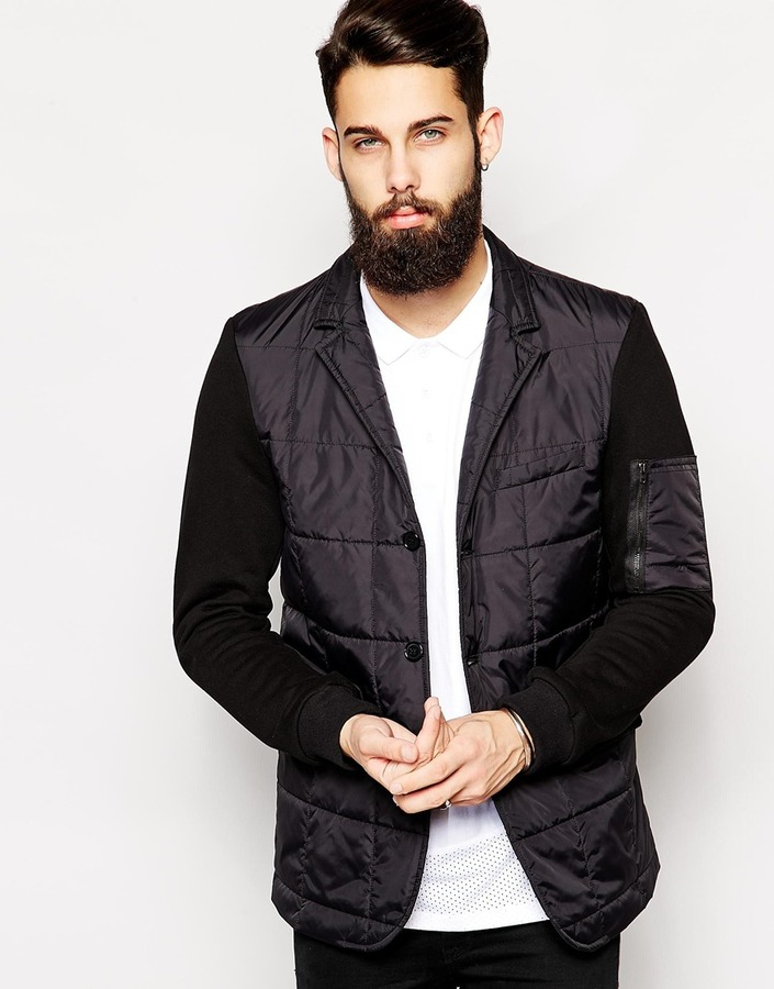 Asos Brand Quilted Blazer With Jersey Sleeves | Where to buy & how ... : quilted blazer - Adamdwight.com