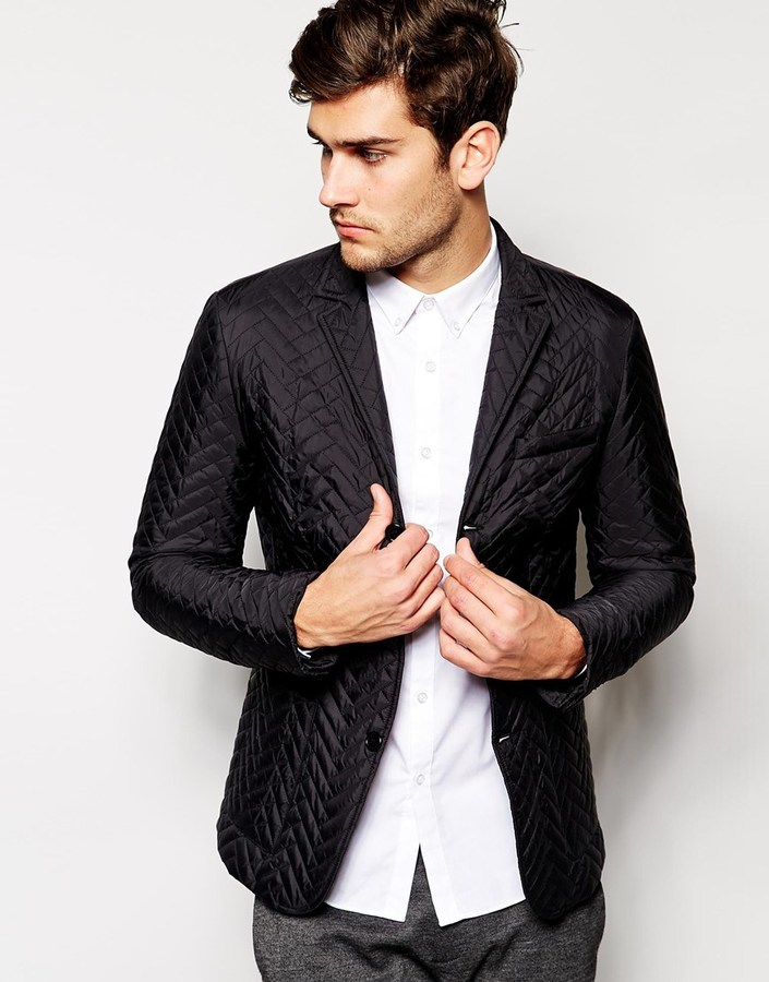 Asos Brand White Slim Fit Quilted Blazer | Where to buy & how to wear : quilted blazer - Adamdwight.com