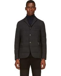 Gamme bleu black crosshatched quilted down blazer medium 111623
