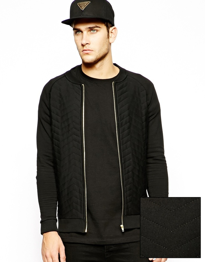 Black Quilted Bomber Jacket Asos Bomber In Jersey With