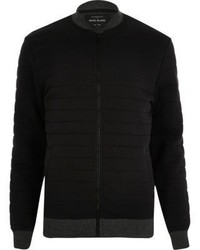 River Island Black Quilted Bomber Jacket