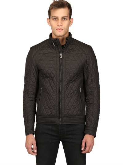 ... Black Quilted Bomber Jackets Belstaff Bramley Quilted Nylon Moto Jacket  ...