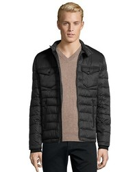 Buffalo David Bitton Buffalo Jeans Black Box Quilted Zip Front Optional Bib Hooded Jacket