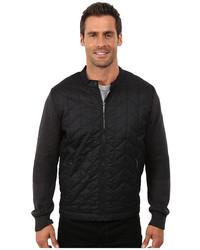 DKNY Jeans Long Sleeve Herringbone Quilted Biker Jacket With Sweater Sleeves