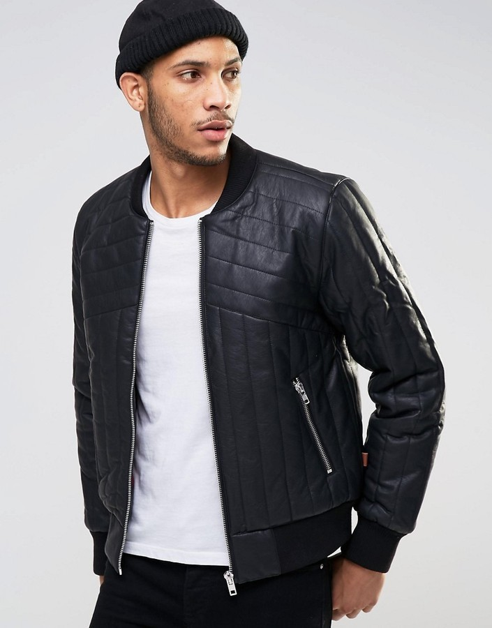 Bellfield Quilted Padded Pu Bomber Jacket | Where to buy & how to wear