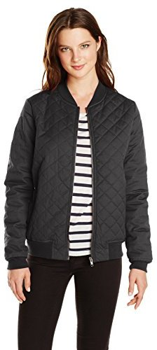 dd5056a6f6d ... Black Quilted Bomber Jackets RVCA Juniors Mason Coated Canvas Quilted  Bomber Jacket