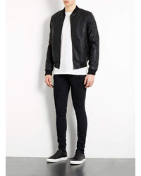 Topman Black Quilted Faux Leather Bomber Jacket | Where to buy