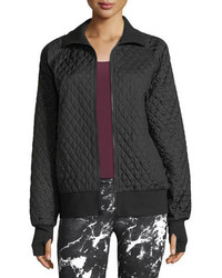 Norma Kamali Zip Front Quilted Bomber Jacket