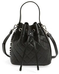 Moschino Mocscino Mini Letters Quilted Bucket Bag Black