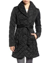 Tahari Casey Quilted Shawl Collar Coat