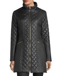 Via Spiga Diamond Quilted Mid Length Coat