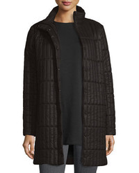Eileen Fisher Quilted Nylon Knee Length Coat Plus Size