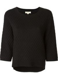 Black Quilted Crew-neck Sweater