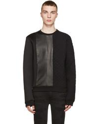 Black neoprene and leather quilted sweatshirt medium 593036