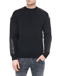 Pierre crewneck sweater with quilted leather details black medium 328327