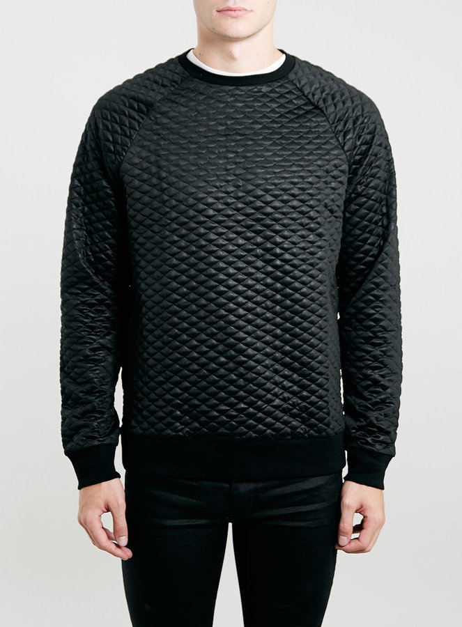Topman Black Technical Quilted Sweatshirt | Where to buy & how to wear
