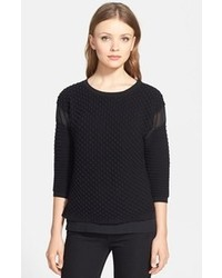 Trouve Trouv Quilted Mixed Media Sweater