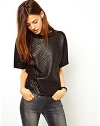Asos Shell Top With Contrast Quilted Panel Detailing