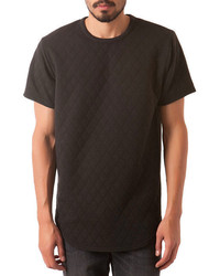 The quilted curved hem tee in black medium 292663