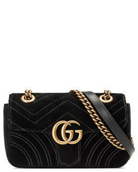 Gucci Gg Marmont 20 Small Quilted Velvet Crossbody Bag