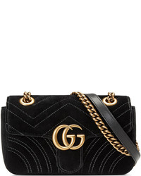 2fe83ec4a58 ... Gucci Gg Marmont Mini Quilted Velvet Crossbody Bag Black