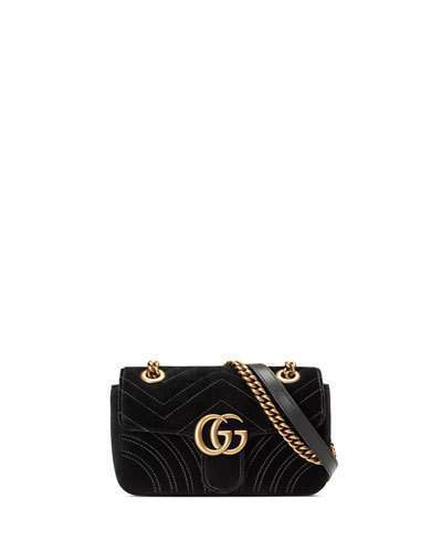 7f5f941d186 ... Gucci Gg Marmont Mini Quilted Velvet Crossbody Bag Black ...
