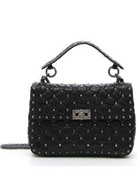 Medium rockstud quilted lambskin shoulder bag black medium 765626