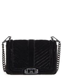 Rebecca Minkoff Small Love Quilted Velvet Crossbody Bag Black