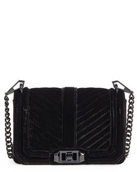 Rebecca Minkoff Small Love Quilted Velvet Crossbody Bag Black