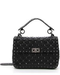 Valentino Medium Rockstud Quilted Lambskin Shoulder Bag Black
