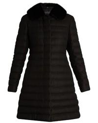 Moncler Gamme Rouge Detachable Fur Collar Quilted Cashmere Blend Coat