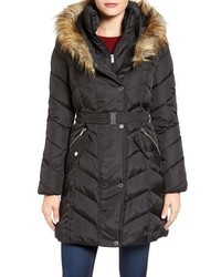 Rachel Roy Faux Fur Trim Quilted Coat With Bib