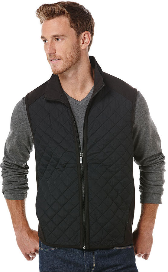 Perry Ellis Black Quilted Vest | Where to buy & how to wear : black quilted vest - Adamdwight.com
