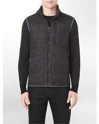 Calvin Klein Heathered Trim Zip Front Nylon Puffer Vest