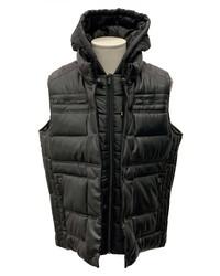Sean John Faux Leather Puffer Hooded Vest