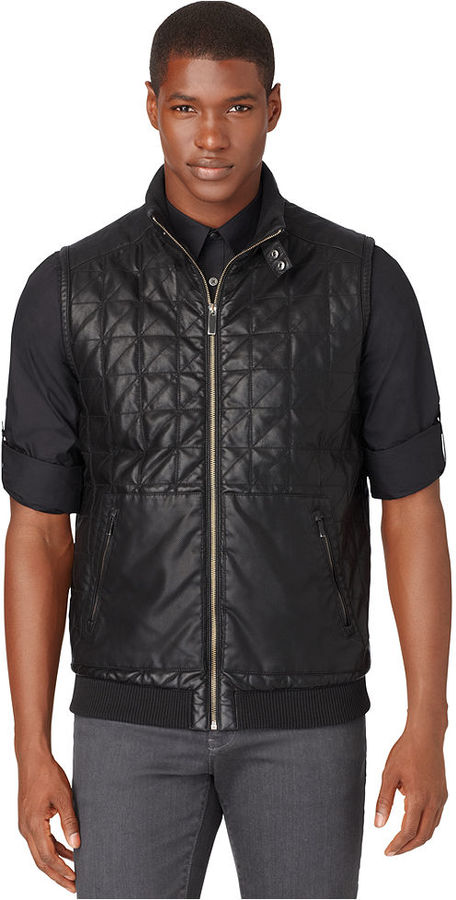 Calvin Klein Faux Leather Quilted Vest | Where to buy & how to wear : leather quilted vest - Adamdwight.com