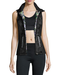 Nanette Lepore Play Quilted Panel Zip Front Vest Black