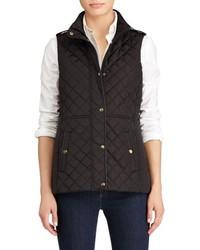 Lauren Ralph Lauren Petite Faux Leather Trim Quilted Vest